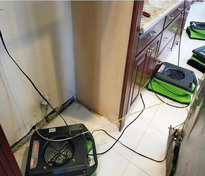 SERVPRO equipment in a kitchen.