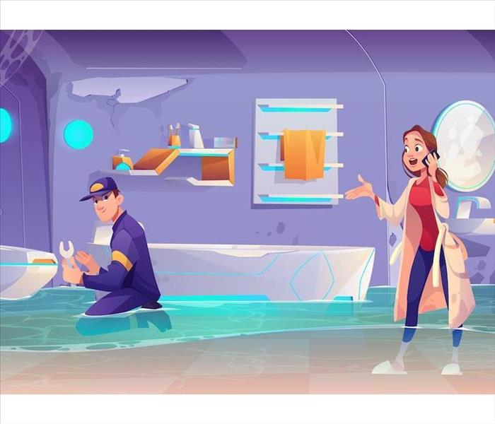 Illustration of a man fixing toilet in flooded bathroom