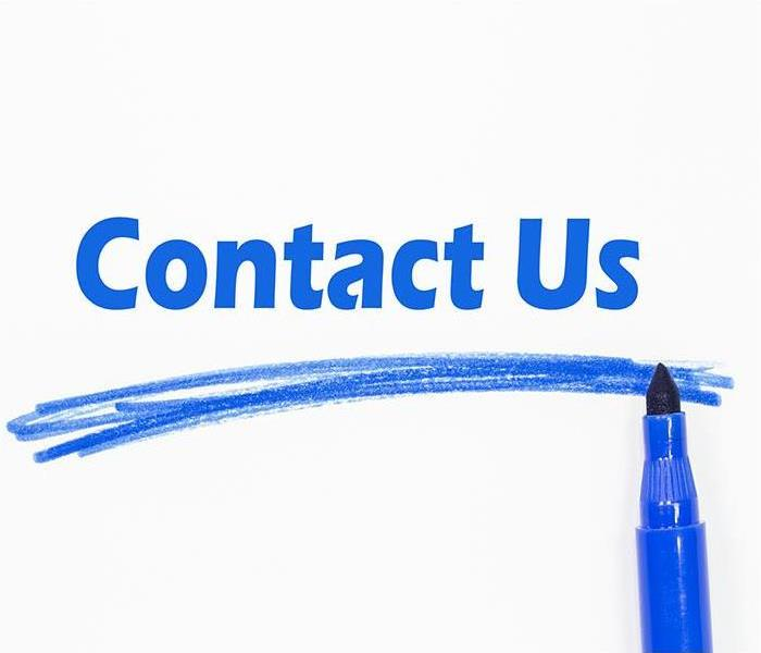 A white background with the words Contact us in blue.